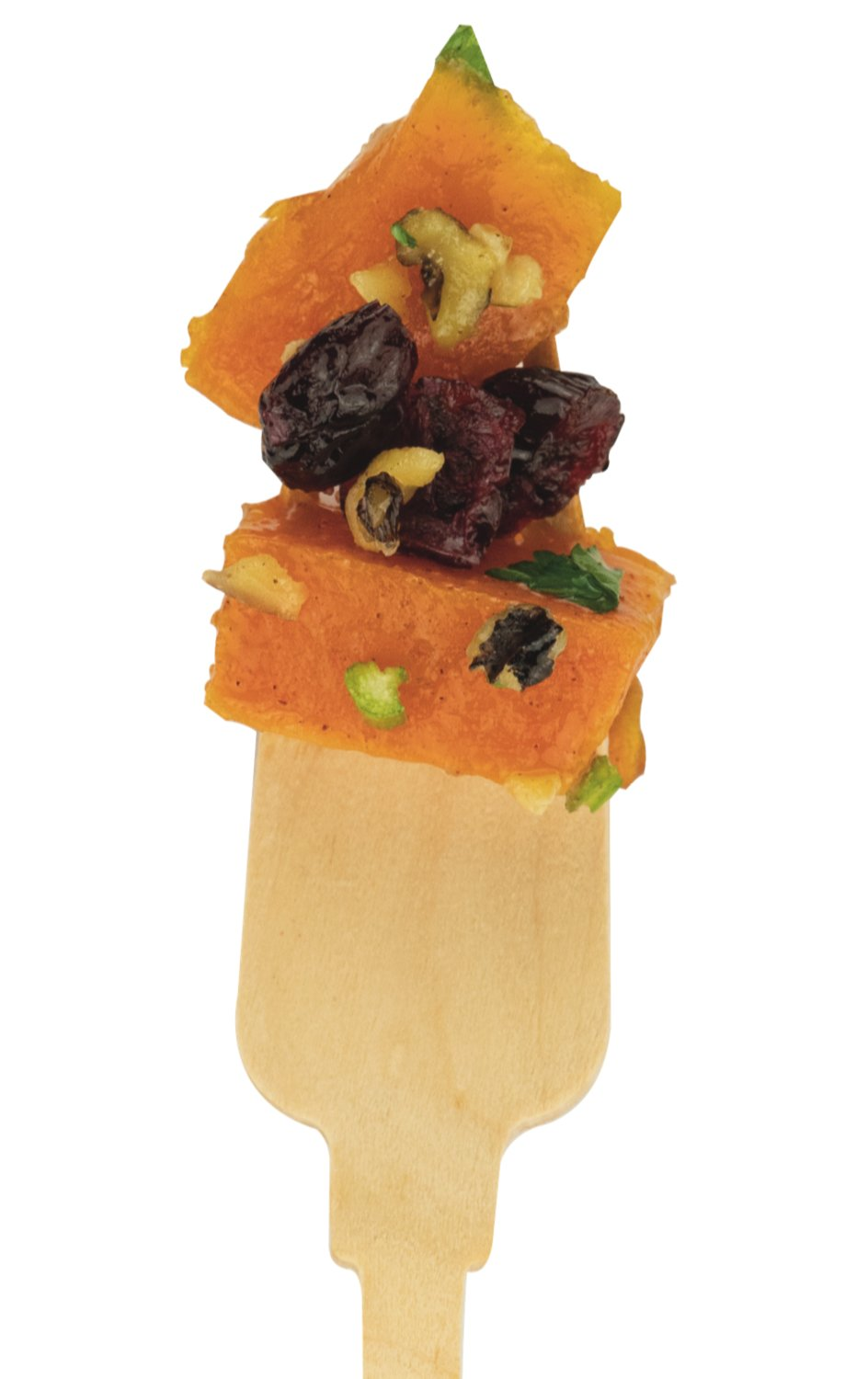 Butternut Squash with Craisins & Walnuts: mixed with craisins, walnuts, butter, and brown sugar.