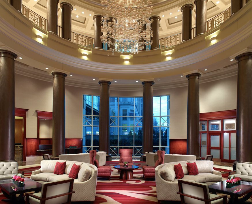 The impressive Omni Providence Hotel lobby complete with
