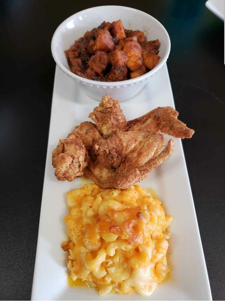Pictured here is Gee Gee's mac n cheese and fried chicken