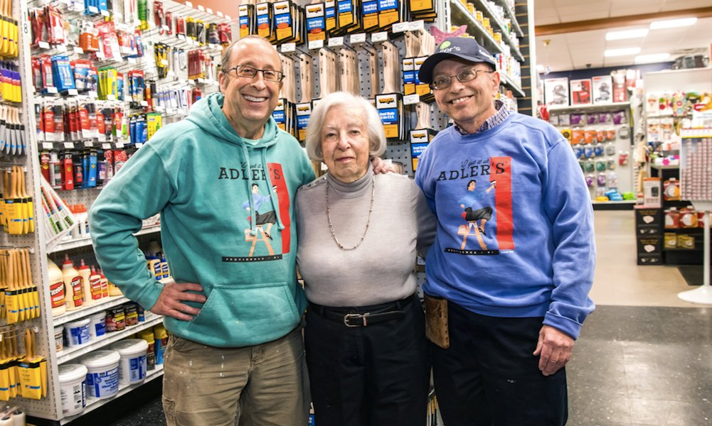 Beloved Betty Adler, flanked by Harry and Marc, recently