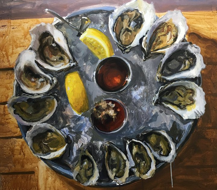 Rhody Oysters is just one example of contemporary local art found at Charlestown Art Gallery