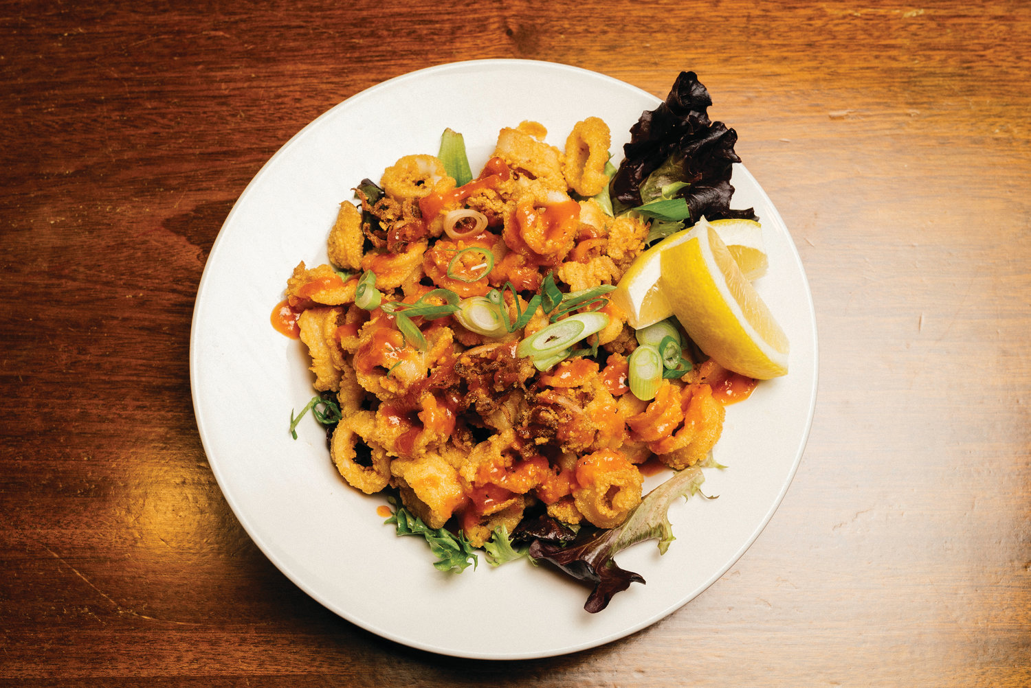 Crispy calamari with smoked pineapple-Sriracha sauce