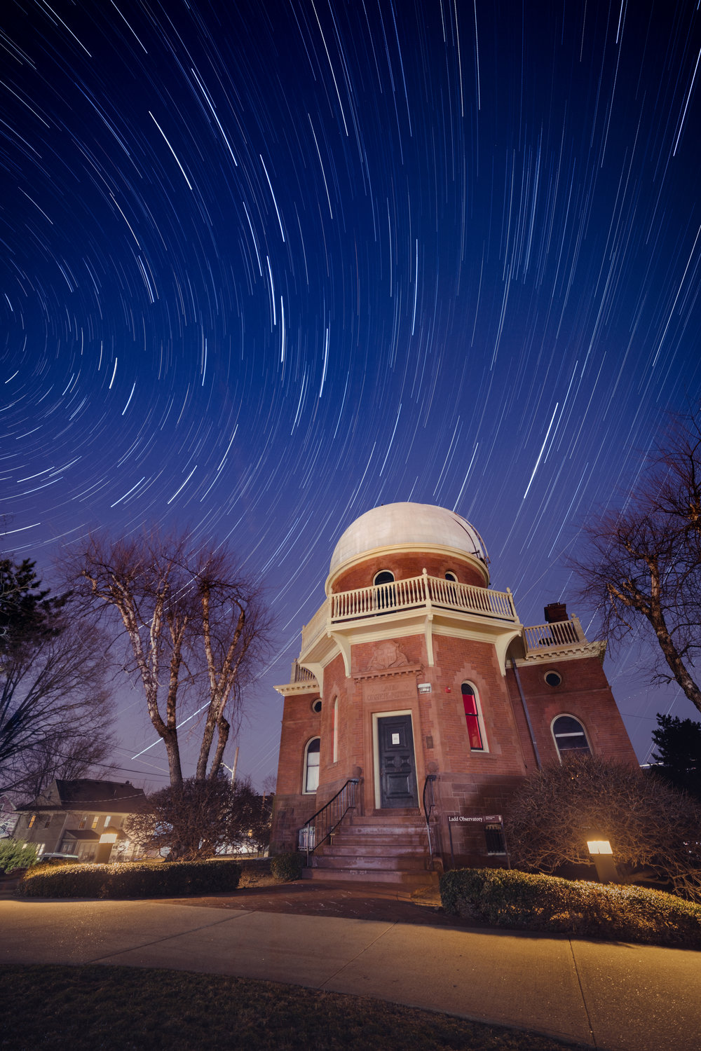 Star trails over Ladd Observatory.