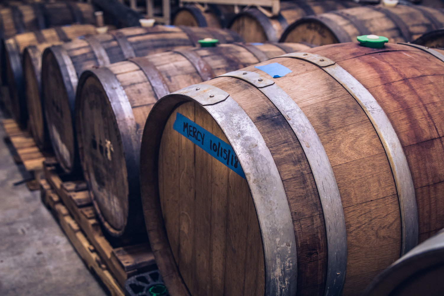 Stacks of wooden 