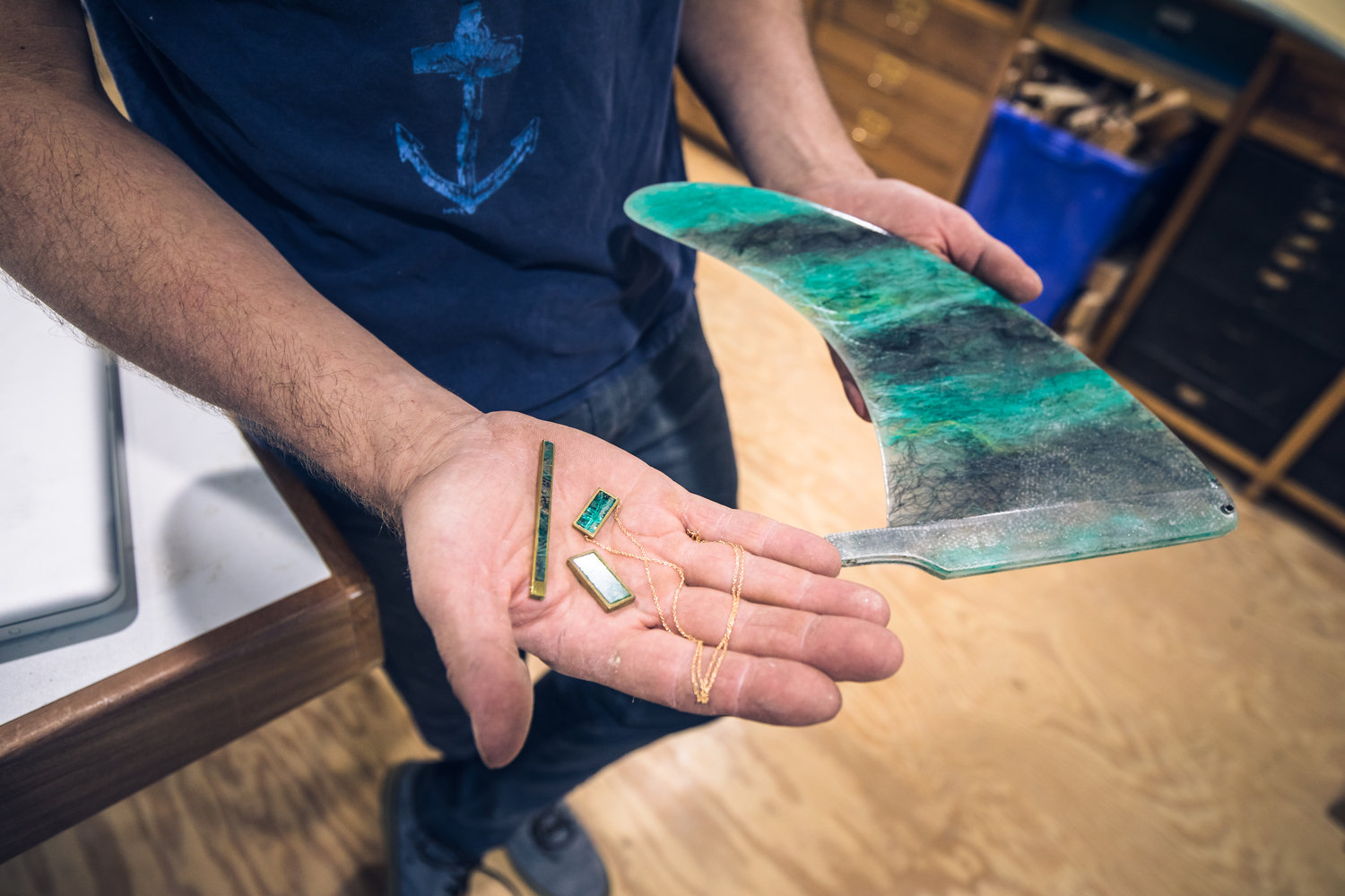 The mission of Spirare Surf Boards is to breath new life into the industry.   Kevin Cunningham also gives new life to marine refuse and debris mixed with eco-friendly resin to make his own fins and jewelry.
