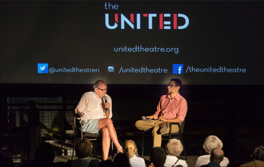 Actor Richard Jenkins shown being interviewed on stage by Tony Nunes