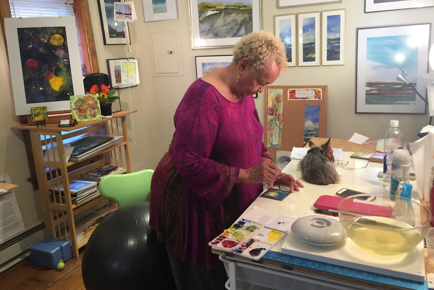 Inside the studio of writer, URI professor, and watercolor artist Earline Rae Ferguson