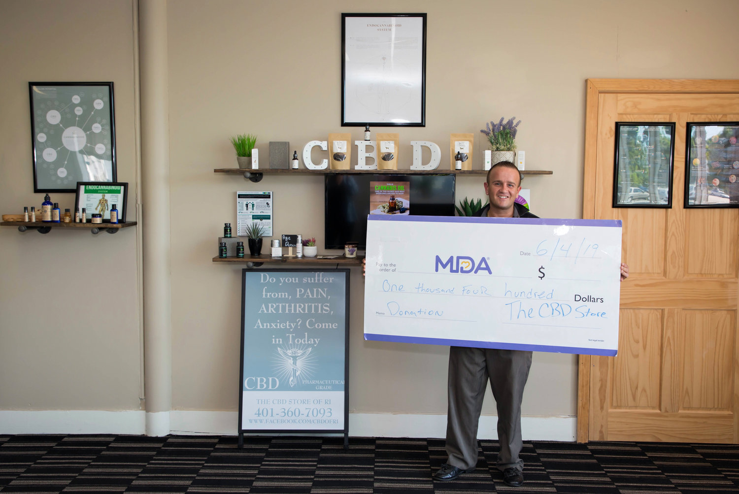 Michael was able to donate $1,400 to the muscular 