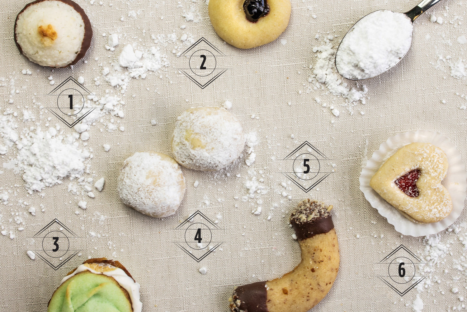 1. Coconut Macaroon |  2. Jelly Thumbprint  |  3. Pistachio Spritz Cookie  |  4. Butterball Cookie  |  5. Almond Crescent  |  6. Linzer Heart