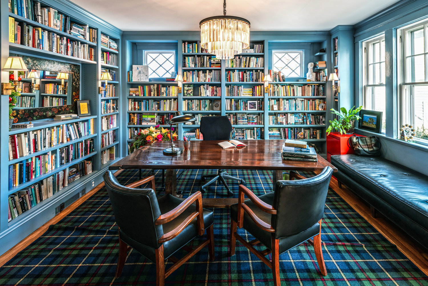 SWITCH ROOM FUNCTIONS: Anne Holland turned her dining room into a library with custom built-ins.