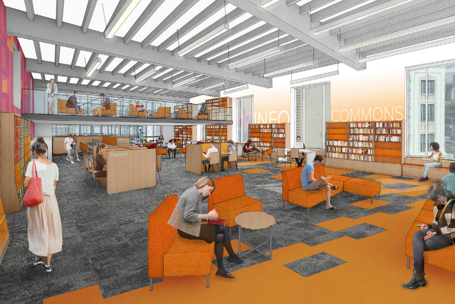 Architectural rendering of the finished Info Commons room