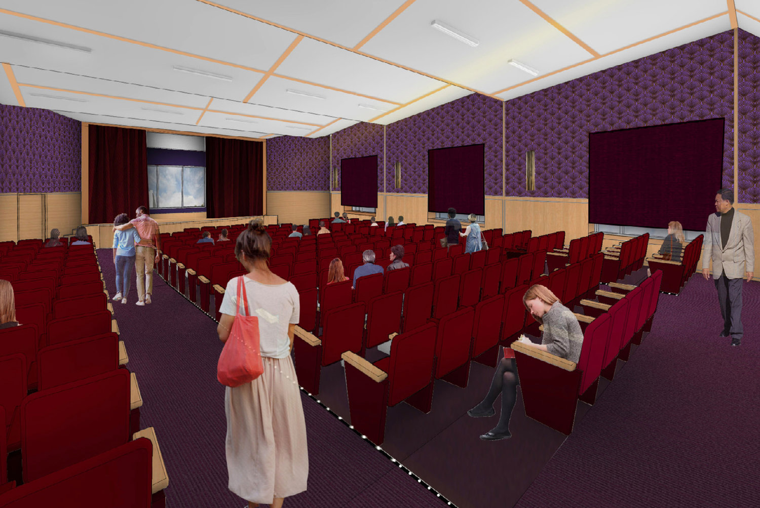 Architectural rendering of finished auditorium