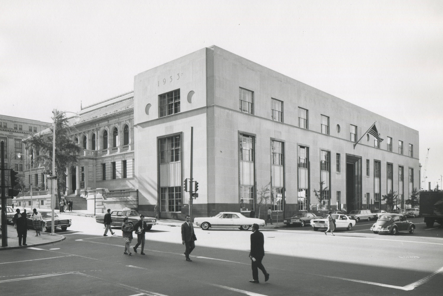 Historic photo of the library from archives