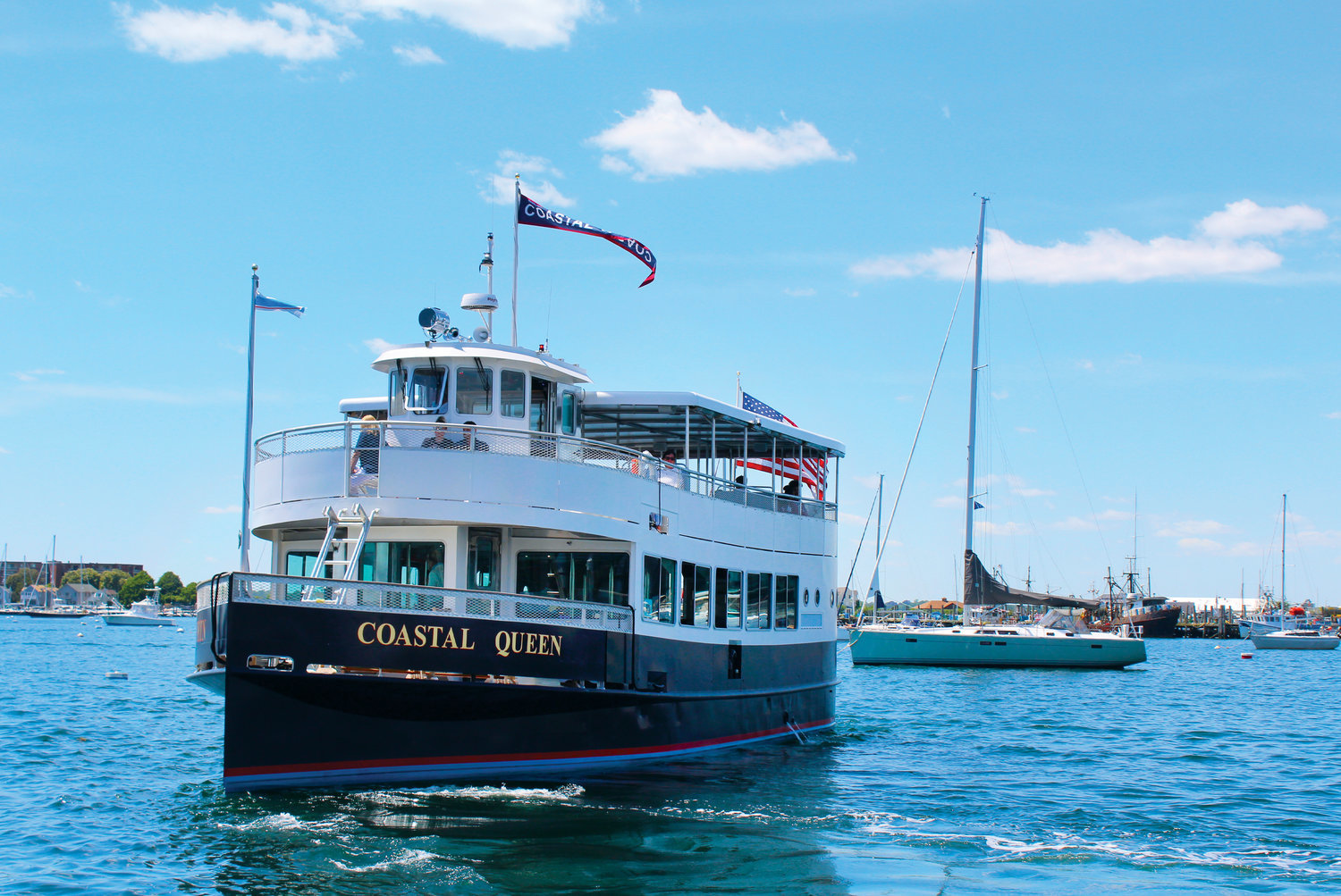 Jamestown Newport Ferry is taking reservations for scenic and sunset cruises aboard COASTAL QUEEN, departing from Jamestown and Newport. See page 39 for details