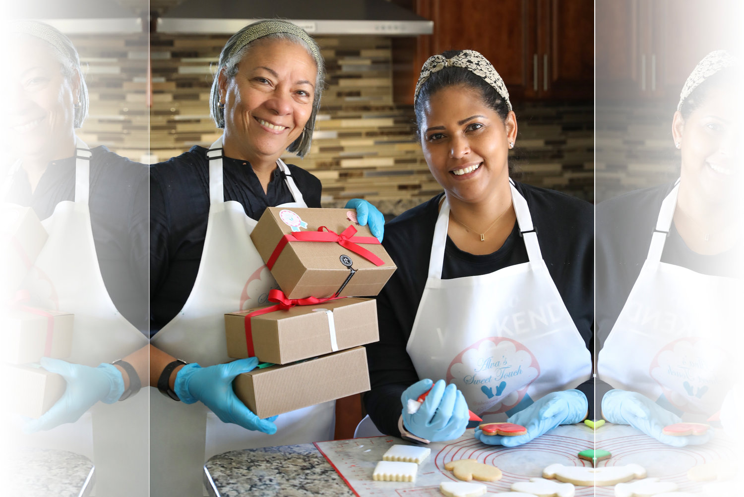 Alva (R), with the help of her sister-in-law Manuela (L), launched her decorative cookie business this past spring, which quickly found a wide customer base eager for her sweet, uplifting treats