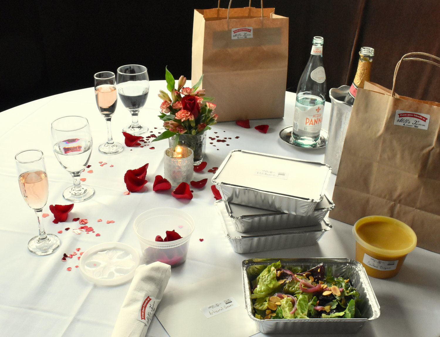 Order takeout from Mill's Tavern for a romantic dinner at home