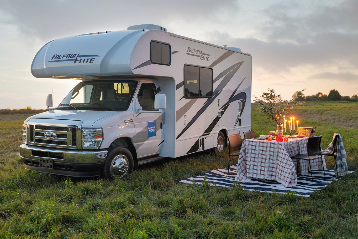 The 24-foot motorhome is a Dream Home first and includes sleeping space for five, a high-end kitchen, and outdoor lounge set
