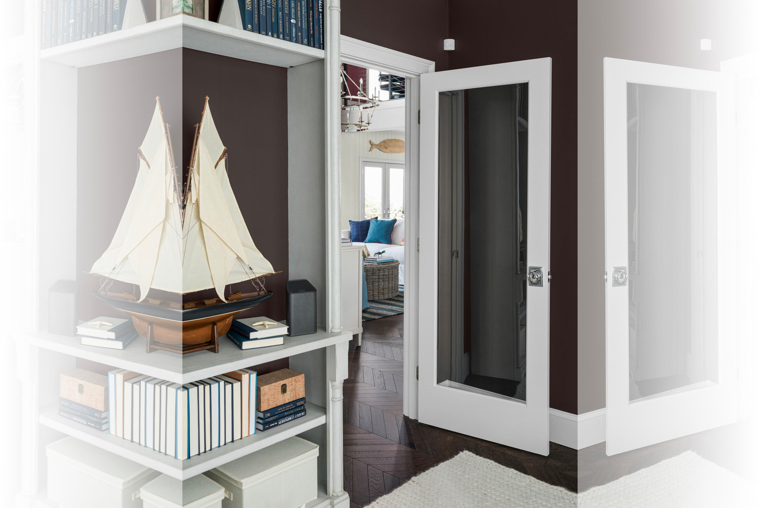Designer Brian Patrick Flynn chose a glass door to minimize intrusions during remote work or learning in the library