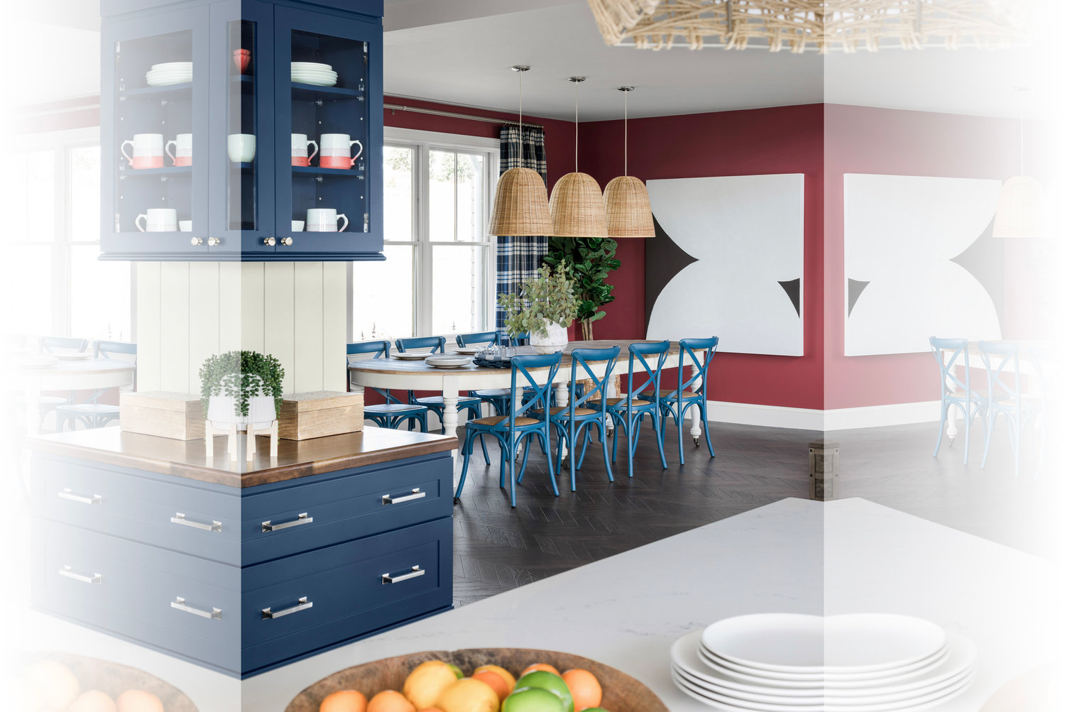 A consistent colorway of red and navy along with accents like pendant lighting in natural textures add a cohesive flow to the open floor plan