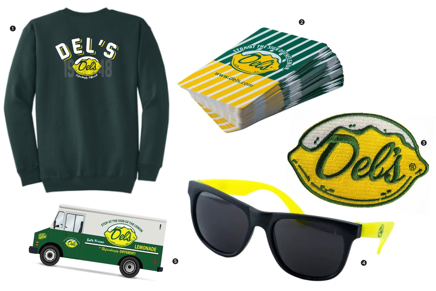 1. Del's 1948 Sweatshirt; 2. Del's Playing Cards; 3. Del's Iron On Patch; 4. Del's Sunglasses; 5. Del's Lemonade Truck Sticker