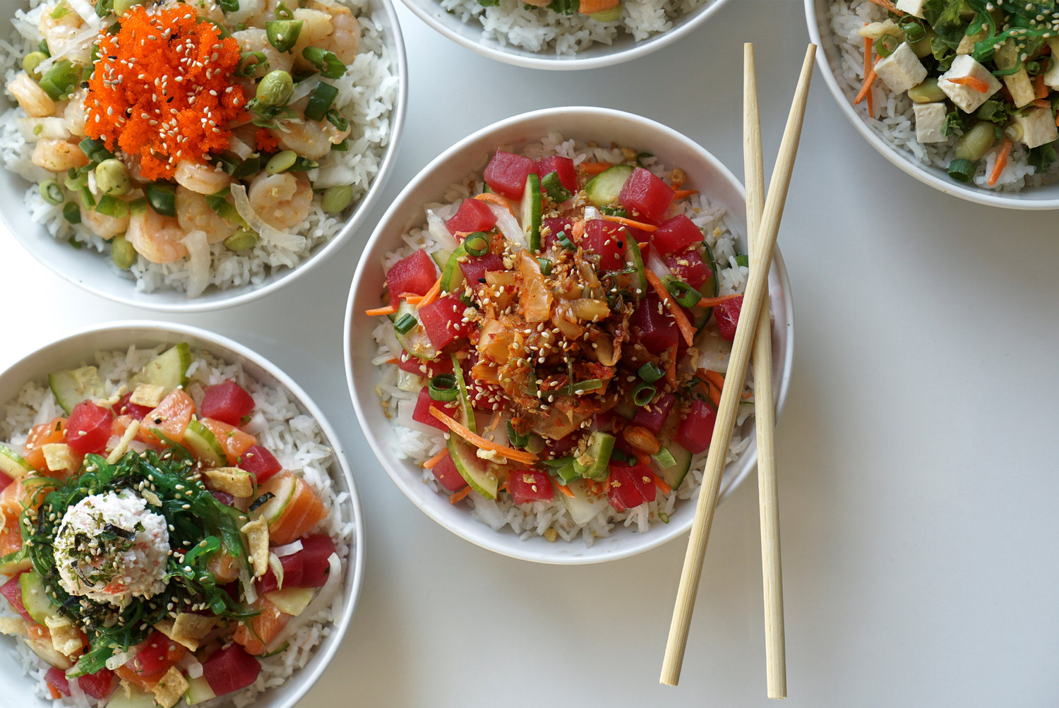 Customize a bowl from Hometown Poké