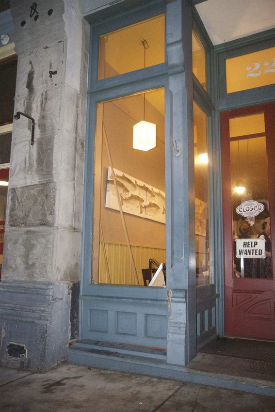 The storefront of Hanazono Asian Noodle, 225 Taylor St., was damaged after a vehicle slammed into it the evening of Nov. 14. The eatery was closed after the incident, but was back open for business the following day.