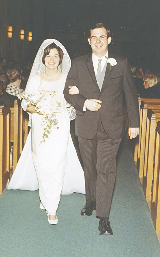 Ned Luce and his bride, BJ, are celebrating their 50th anniversary. Here, they are shown on their wedding day. Courtesy photo
