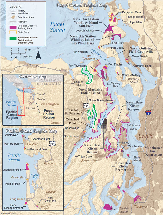The map above shows where the U.S. Navy intends to conduct Navy SEALs training, ranging from two hours to 72 hours at a time, at various locations in Jefferson, Whidbey and Kitsap counties. The Navy announced its plans in 2017. The lines in green, along Discovery Bay and Dabob Bay in Jefferson County, were added in 2018. Map courtesy U.S. Navy with green added by Scott Herning of The Leader