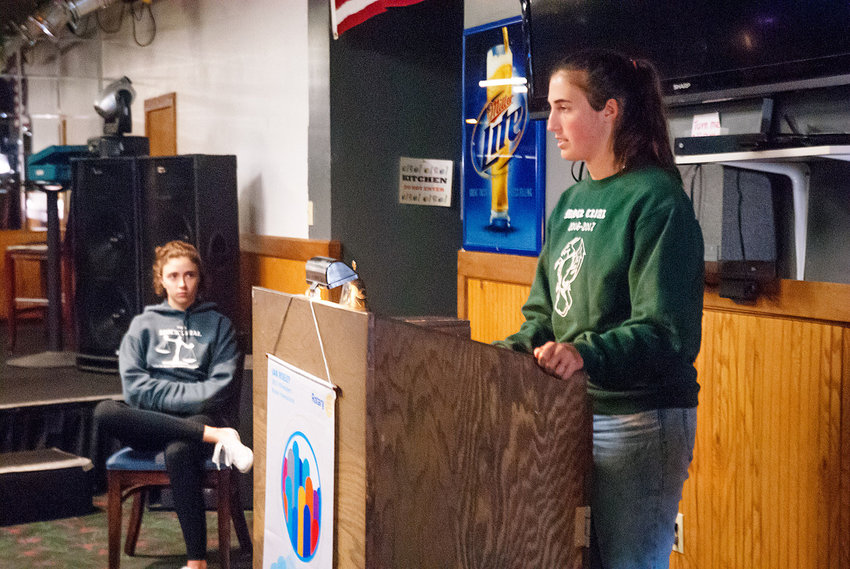 Port Townsend mock trial team members Corinne Pierson (left) and Maria Morrison speak at a Rotary Club meeting at Highway Twenty Roadhouse Aug. 23. Photo by Chris Tucker