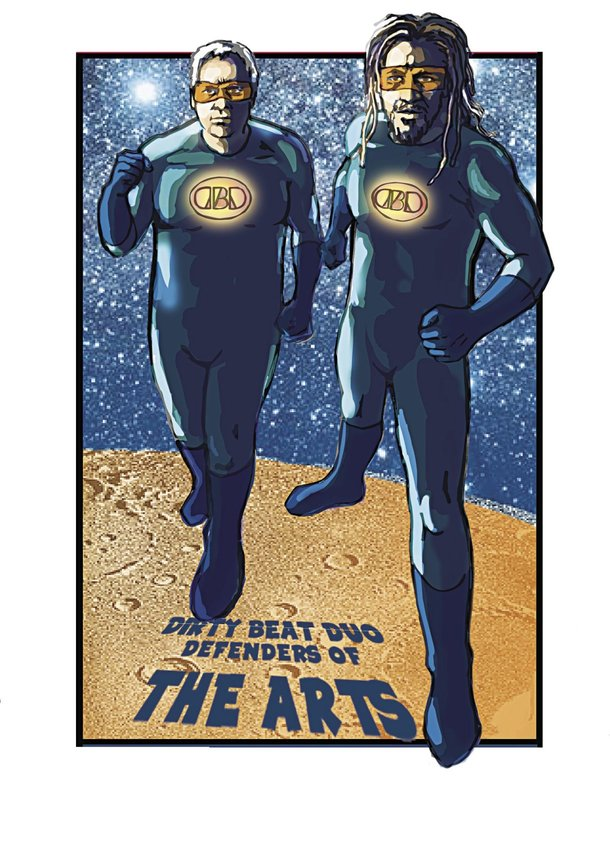 Pete Lack (left) and Jesse Watson of Dirty Beat Duo defend the arts by hosting a dance party June 16 to benefit arts programs in the Port Townsend School District. Courtesy art by Jesse Watson