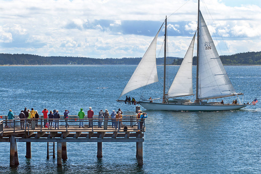 The 84-foot schooner Martha sails past the dock near the Northwest Maritime Center during the 70th annual Port Townsend Yacht Club boat parade on Saturday, May 6. The boat was built in 1907 in San Francisco. Photos by Chris Tucker