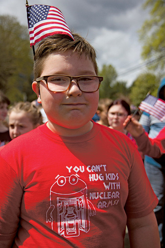 Kaden Faller, in the fourth grade at Brinnon Elementary School, marched in the Brinnon Loyalty Day Parade April 28. Brinnon Loyalty Day is sponsored by the Veterans of Foreign Wars (VFW) Post 10706 with support from the Brinnon Booster Club.