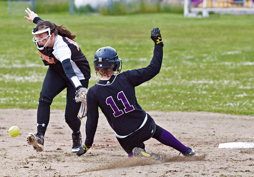 Steve Mullensky/for The Leader Quilcene's Abby Weller steals second during a game against Wiskah Valley on Thursday in Quilcene.