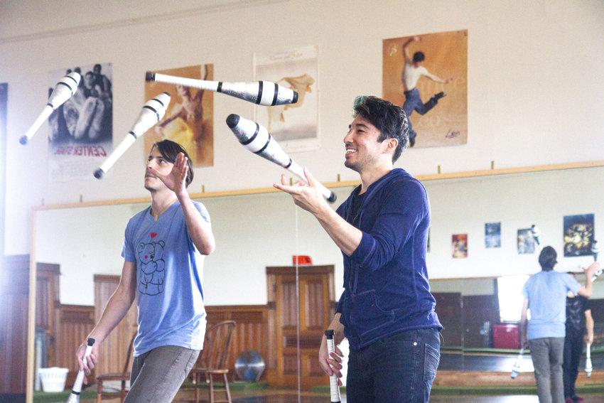 Nanda troupe members Kiyota Sage (right) and Chen Pollina (left) rehearse. Photo by Katie Kowalski
