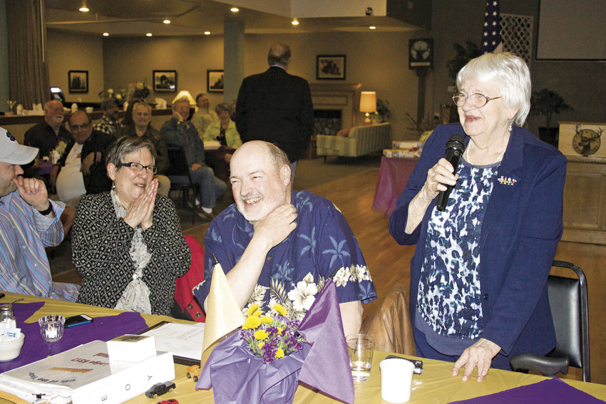From left, Kim and Mike Hammers laugh as Helen, Mike's mother, tells amusing anecdotes about him during his April 7 induction as the Elk of the Year for Port Townsend Elk Lodge 317. Photo by Kirk Boxleitner