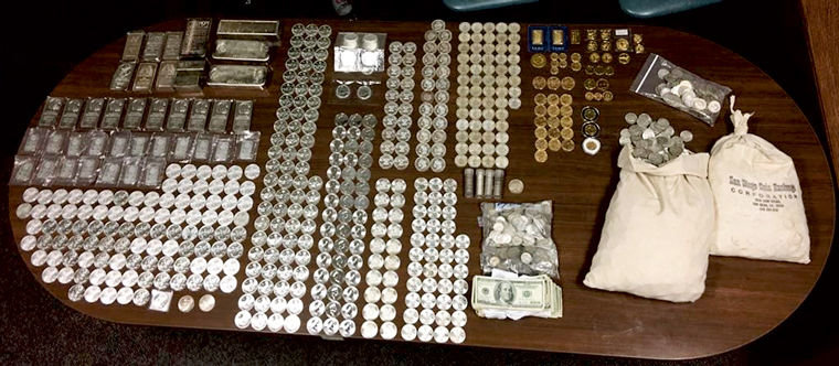 Marysville and Everett police found $115,000 in stolen gold and silver Feb. 28 and March 1, but it's unclear whether the recovered pieces belong to collectors in Jefferson or Clallam counties since there were thefts in both counties. Photo courtesy of Marysville Police Department