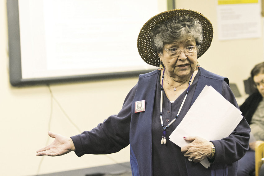 Elaine Grinnell, a tribal elder and historian with the Jamestown S'Klallam, is a descendant of Chief Chetzemoka. She and representatives of two other tribes advocated for the Port Townsend School District to name the new elementary school after Chetzemoka. Instead, the school board voted 4-1 for the name Salish Coast Elementary. Photo by Patrick Sullivan