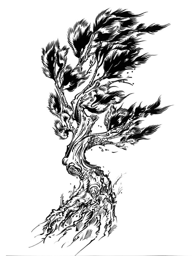 """""""Tree"""" is a brushed line work piece by tattoo artist Clae Welch, whose art is on display at Pippa's Real Tea through April. Courtesy image"""