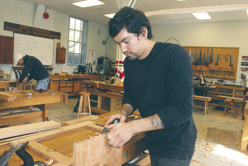 After a stint in the U.S. Marine Corps, Brandon Denning is using his G.I. Bill funding to attend the Port Townsend School of Woodworking and Preservation Trades at Fort Worden State Park. Photo by Kirk Boxleitner