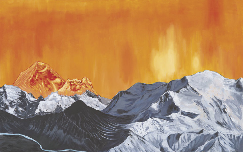 """""""A Tale of Two Mountains"""" is another piece by Port Townsend artist Raquel Stokes, who is showing her work during First Saturday Art Walk at Taps at the Guardhouse at Fort Worden. Courtesy images"""