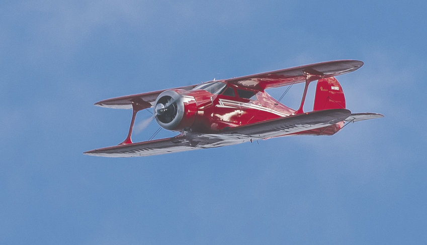 This Beech E-17L, based at Jefferson County International Airport, was photographed flying over Port Townsend Bay about 15 minutes before it made a water landing in Discovery Bay at about 2:35 p.m., Jan. 24. The rare plane is about 24 feet in length, with a 32-foot wingspan. Photo courtesy Ron Wheeler