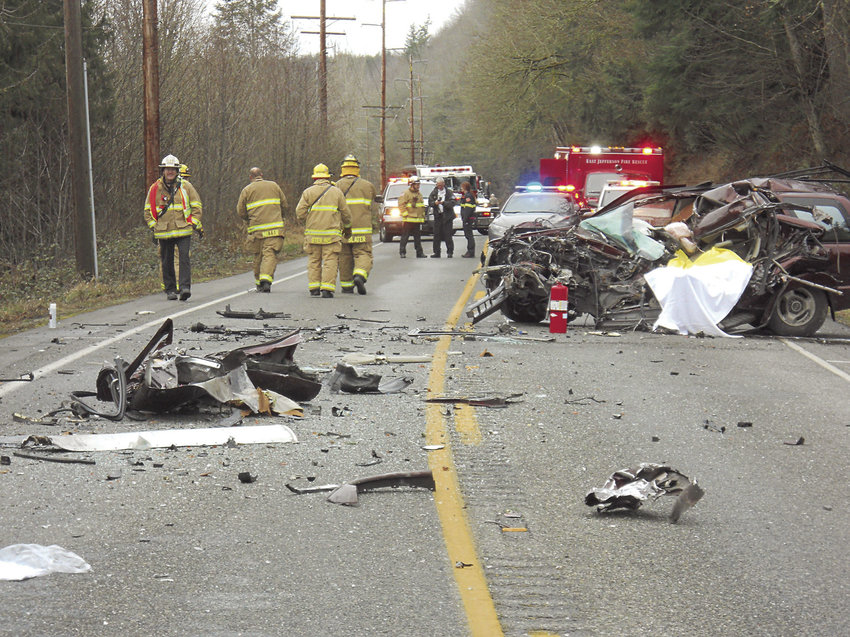 A man from Whidbey Island died when the vehicle he was driving (pictured) crossed the centerline and struck a delivery truck Friday, Jan. 20 on State Route 19 in Beaver Valley. Four other people were injured in what became a three-vehicle accident. Photo courtesy Port Ludlow Fire & Rescue