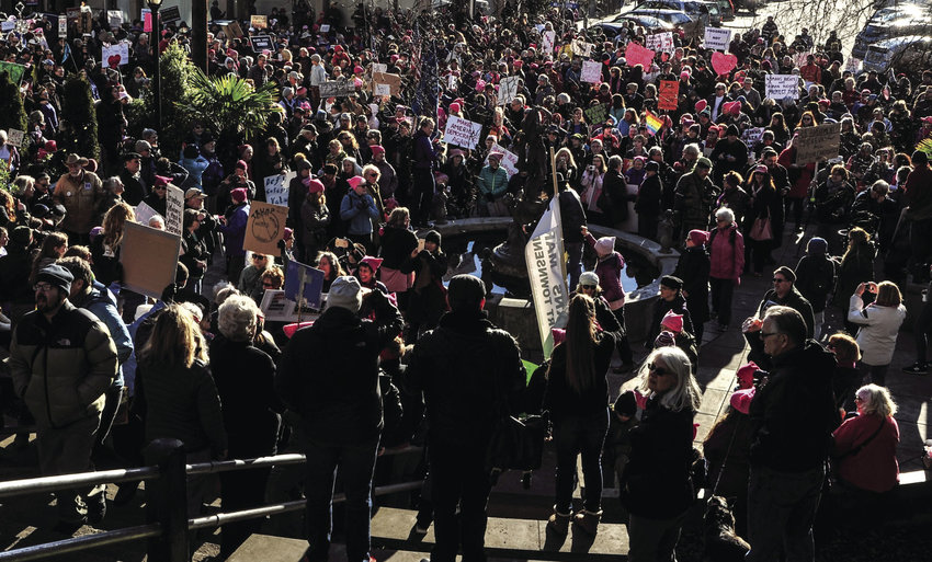 One estimate was that 1,000 people showed up Saturday, Jan. 21 to join in the Port Townsend Womxn's March. The crowd filled area surrounding Haller Fountain and spilled out onto Taylor Street and up Washington Street. Photo courtesy Bob Page