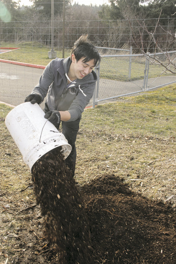 Chris Edwards from AmeriCorps is no stranger to laying down coats of manure, bark and wood chips around trees, such as those at Blue Heron Middle School. Photo by Kirk Boxleitner