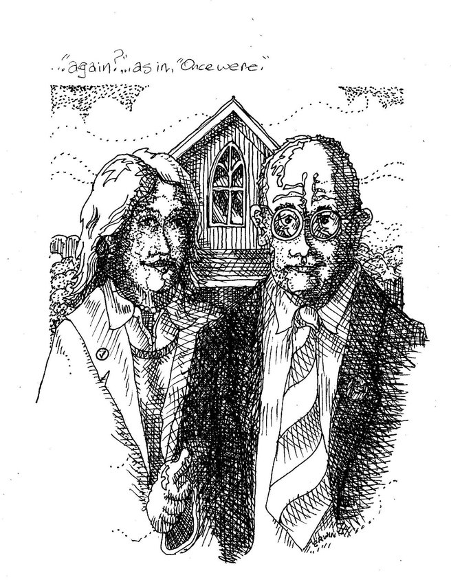 "illustration based on Grant Woods' ""American Gothic."""
