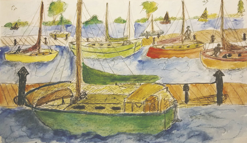 Barbara Kurland, who coordinates the local branch of Urban Sketchers, painted this at Point Hudson while watching the boats being prepared for the 2016 Race to Alaska. Courtesy image