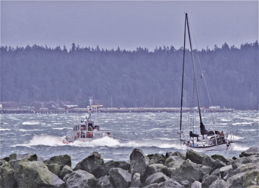 The Free Spirit was towed into the Port Townsend Boat Haven by the U.S. Coast Guard Jan. 17. Photo by Warren Walters