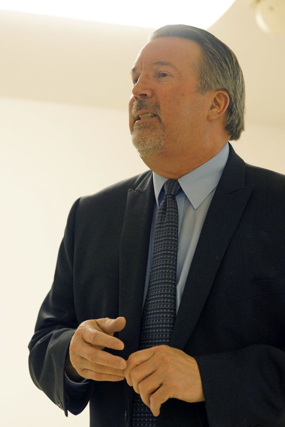 Quilcene School District Superintendent Wally Lis talking at a public forum Jan. 18 in Brinnon. Photo by Nicholas Johnson