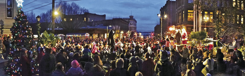 About 500 people attended the annual Port Townsend Community Tree Lighting Ceremony Dec. 3 at Haller Fountain. Photo by Steve Mullensky