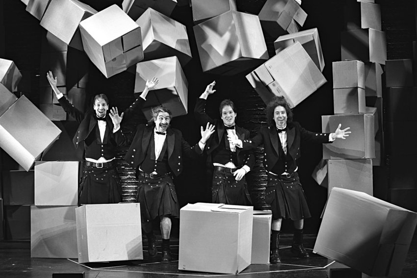 The Flying Karamazov Brothers (from left, Stephen O'Bent, Paul Magid, Roderick Kimball and Mark Ettinger) are set to appear at the New Old Time Chautauqua Holiday Benefit Show Dec. 10-11. Photo courtesy Carol Rosegg